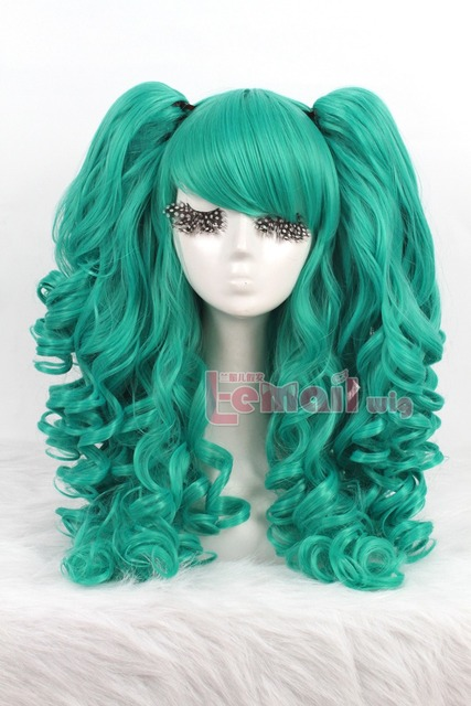 Free shipping 60cm long green Lolita clip on ponytails cosplay hair wig perucas