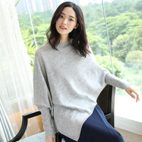 100% Merino Wool Sweaters and Pullovers for Women O neck and Long Bat Sleeve Loose Spring Autumn Female Brand Jumpers