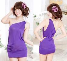 Wholesale 2 pc/lot The new ultra-thin sexy lingerie low-cut shoulder straps chiffon nightdress pajamas ultrashort 112510