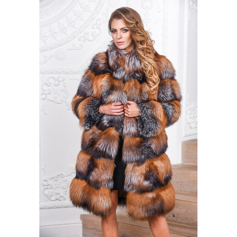 TOPFUR Women Gold Fox Fur Jacket With Fur Collar Fashion Real Fox Outwear Winter Natural Coat Super Luxury Real Russian Fox