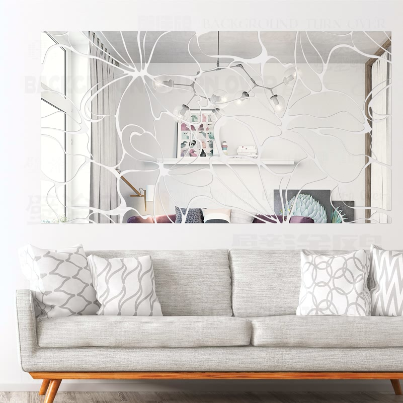 Creative DIY Square Abstract Decorative Acrylic Mirror Wall Stickers TV Wall Decals Bedroom Living room Home Decor Poster R001