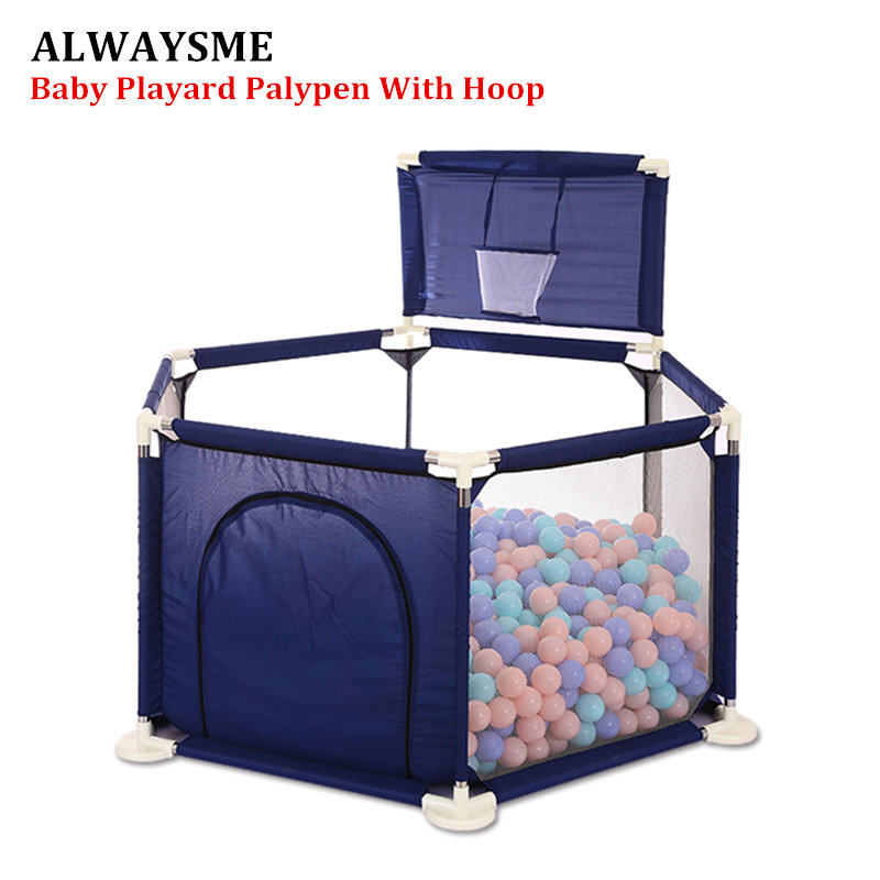 ALWAYSME Baby Toddler Newborn Infant Portable Playard Playpen Activity Center Bumper Space Guard Washable With Basket Ball Hoop