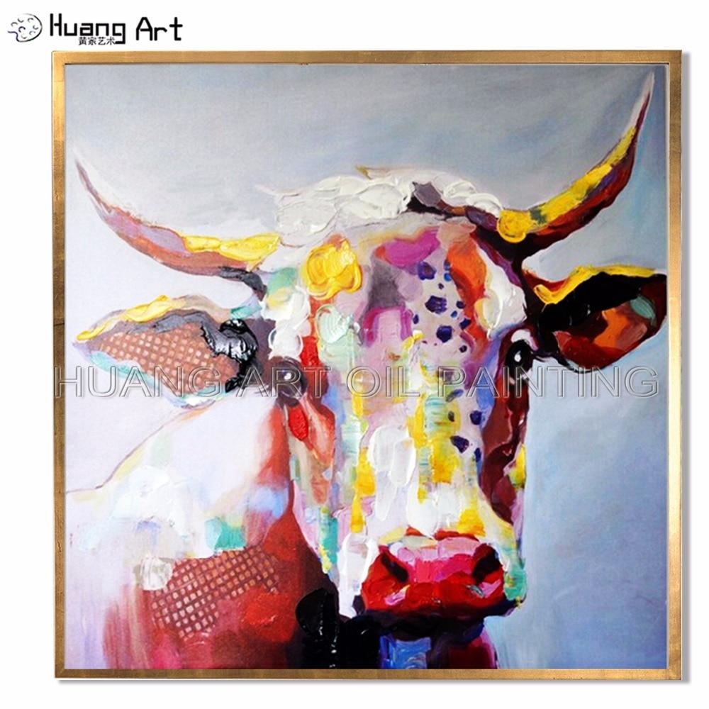 큰 크기의 그림 수제 장화 캔버스에 홈 장식을위한 컬러 암소 그림 고품질 황소 동물 유화