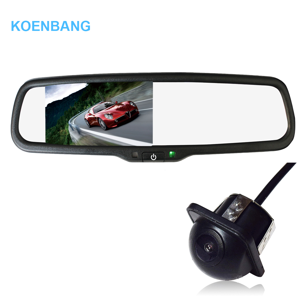 KOENBANG 4.3 TFT LCD Car Parking Rearview Mirror Monitor 1000cd/m2 2-way Video Input For Rear View Camera Reverse Auto Camera
