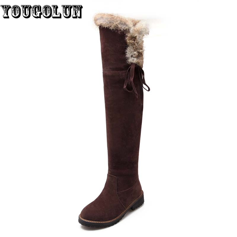 YOUGOLUN Winter Women Over The Knee Snow Boots Ladies Thigh High Boot Elegant Knot Woman Black