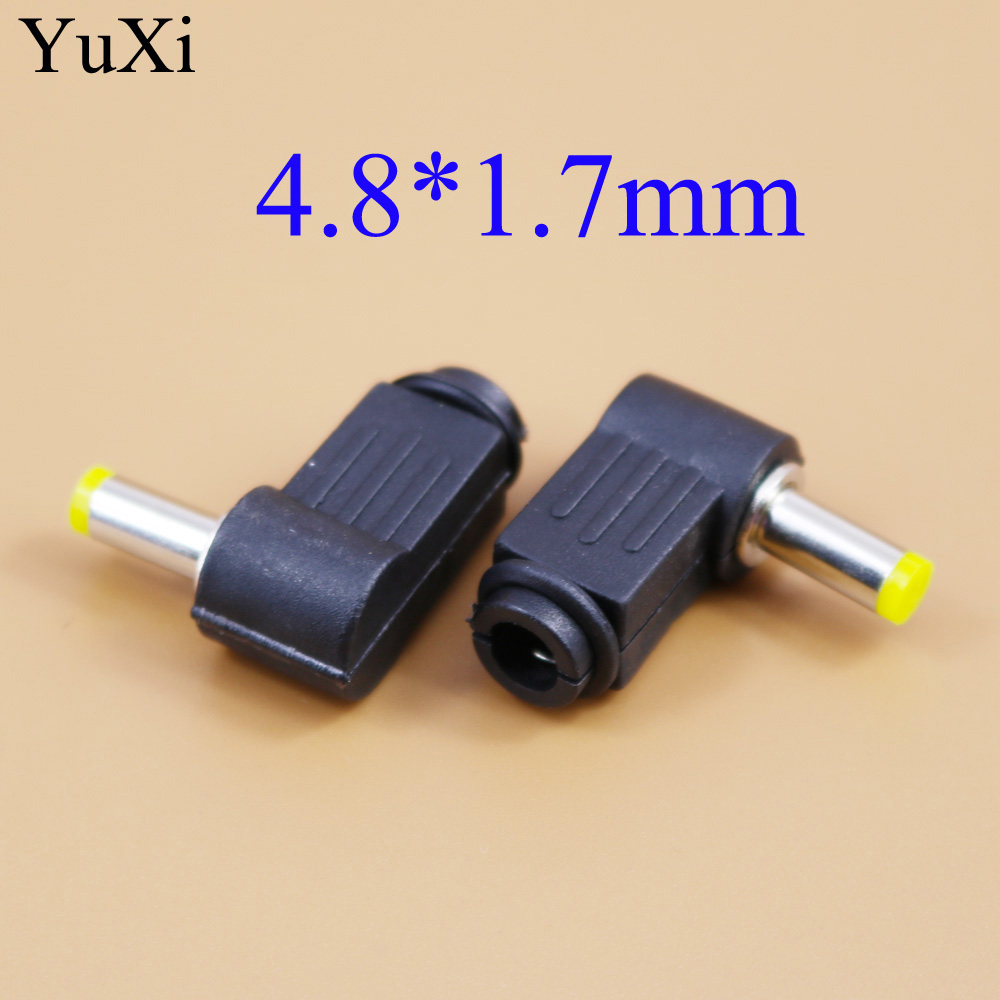 YuXi  4.8x1.7 Mm DC Power Plug 4.8*1.7 Mm L-shaped Male 90 Right Angle Single Head Jack Adapter Cord Connector