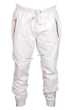 super popular 699ff bad24 White blue leather sweatpants pants men white blue hip hop leather joggers  jogging pants streetwear