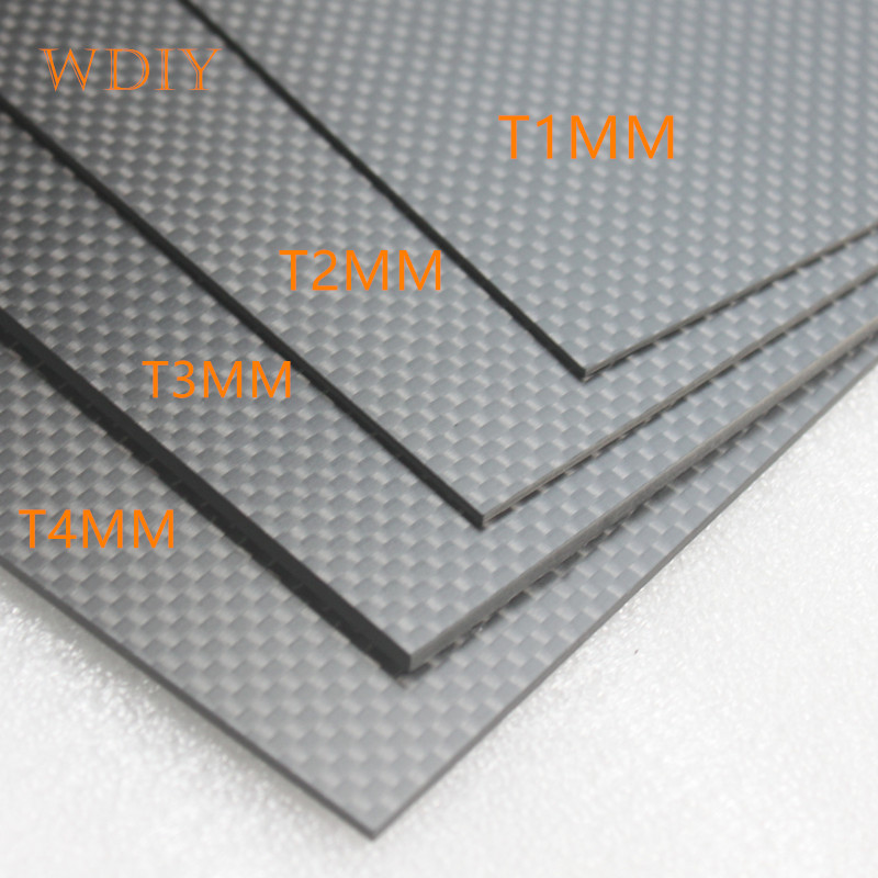 3k carbon board panel T1 2 3 4 5mm 100% carbon fiber board plain twill fabric glossy finish 1pc full carbon fiber board high strength rc carbon fiber plate panel sheet 3k plain weave 7 87x7 87x0 06 balck glossy matte