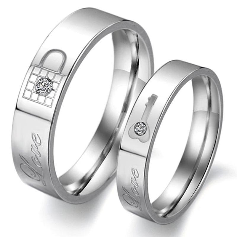 Fashion  Rhinestone Love Lock Ring titanium steel couple wedding ring set his and hers promise ring sets anillos de boda