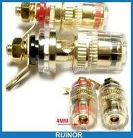 10PCS Copper Transparent Binding Post For Power Amplifier 4MM Banana Plug Socket