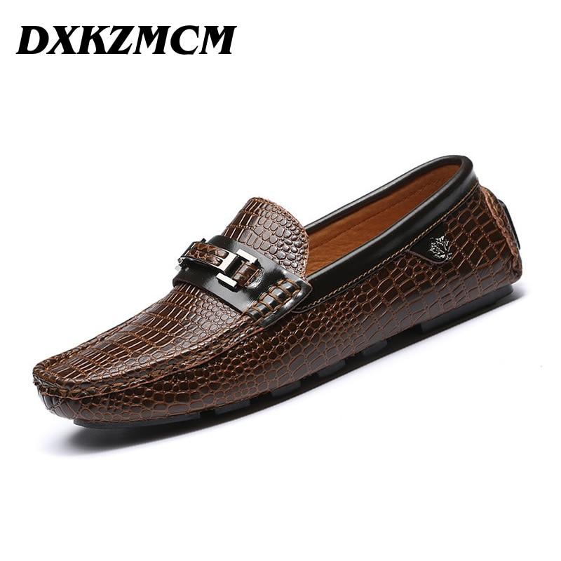 DXKZMCM Handmade Genuine Leather Men Shoes, Soft Leather Men Loafers, Fashion Mocasines Hombre, Brand Men Flats