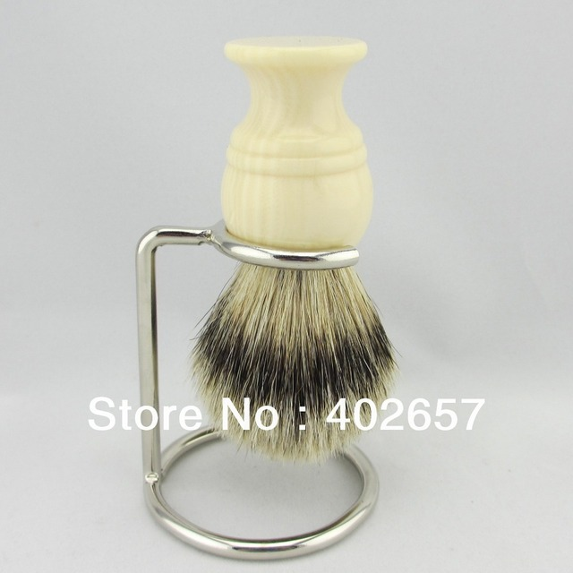 Faux Ivory  handmade handle SilverTip Badger Shaving Brush with free stand