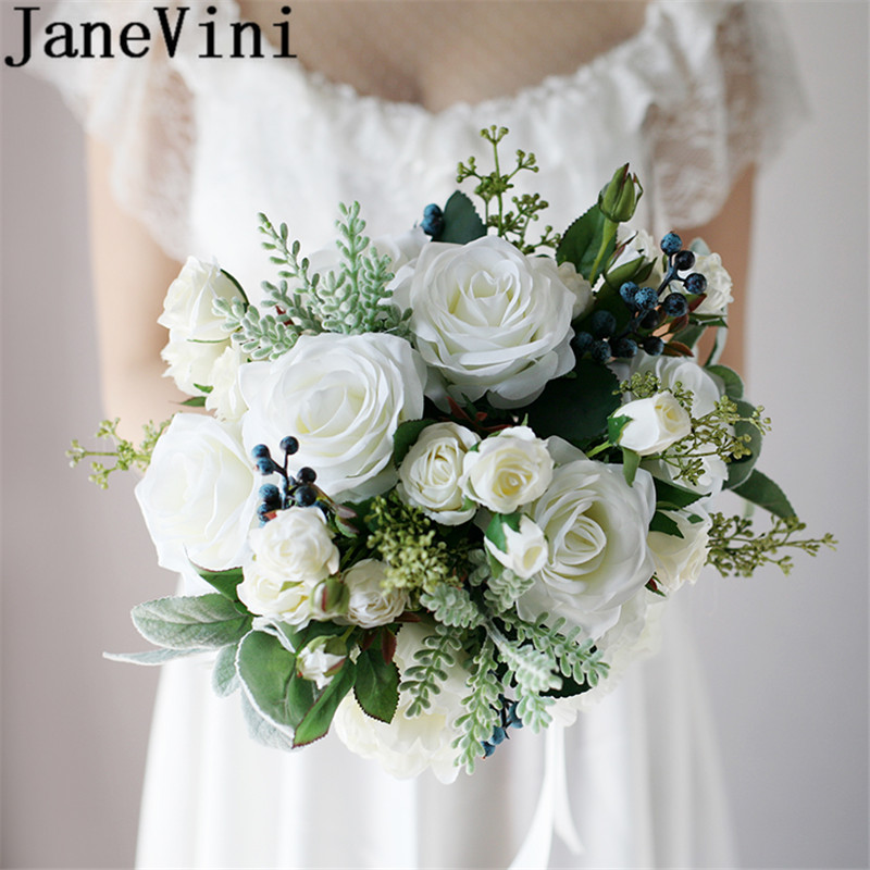 Artificial Flowers For Wedding Bouquets: Aliexpress.com : Buy JaneVini Western Style Bride Flowers