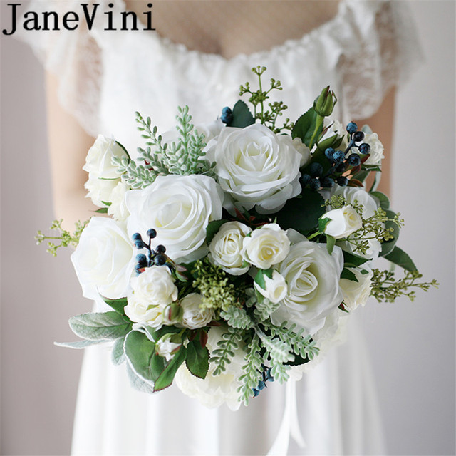Janevini Western Style Bride Flowers Vintage White Bridal Bouquet