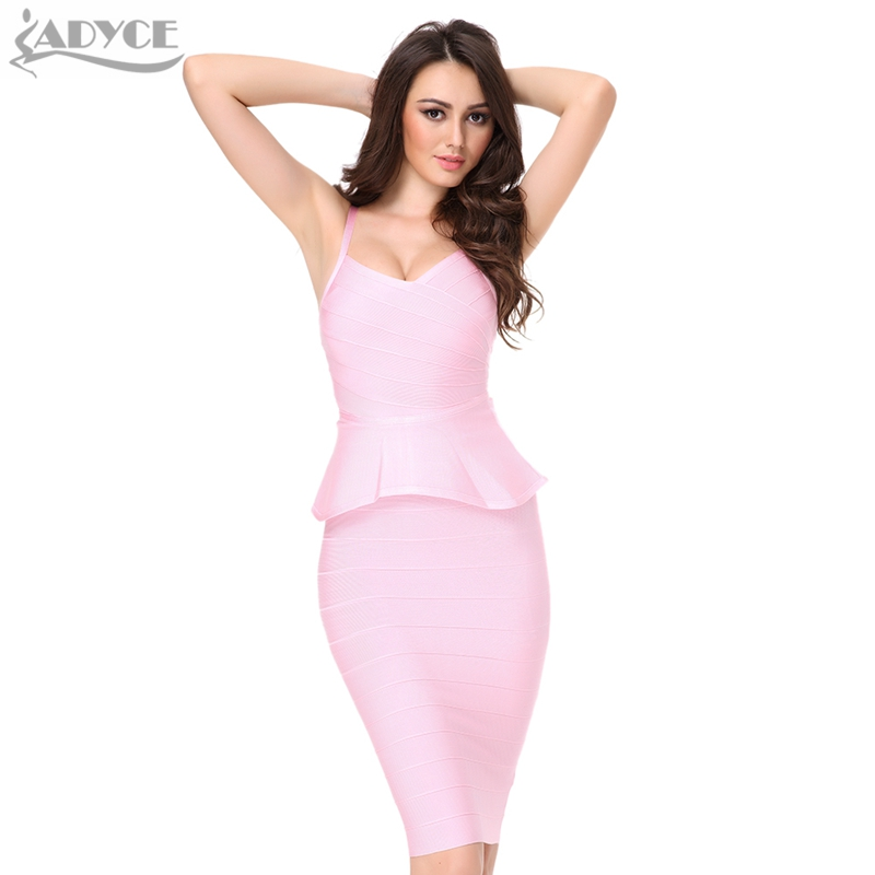 ADYCE 2019 Summer 2 Two Piece Set Women Bandage Dress White Red Khaki Knee-length Club Sexy Bodycon Dress Celebrity Party Dress