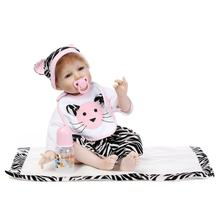 Nicery 22inch 55cm Reborn Baby Doll Magnetic Soft Silicone Lifelike Boy Girl Toy Gift for Children Christmas Pink White Cat