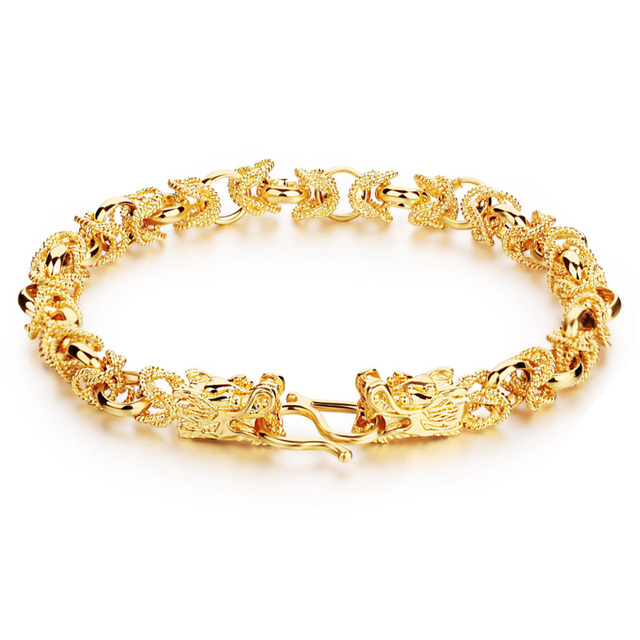 New Arrival Charm Men Fashion Bracelet Copper Plated Yellow Gold Bracelets Male Jewelry Accessories Pulseiras Masculinas