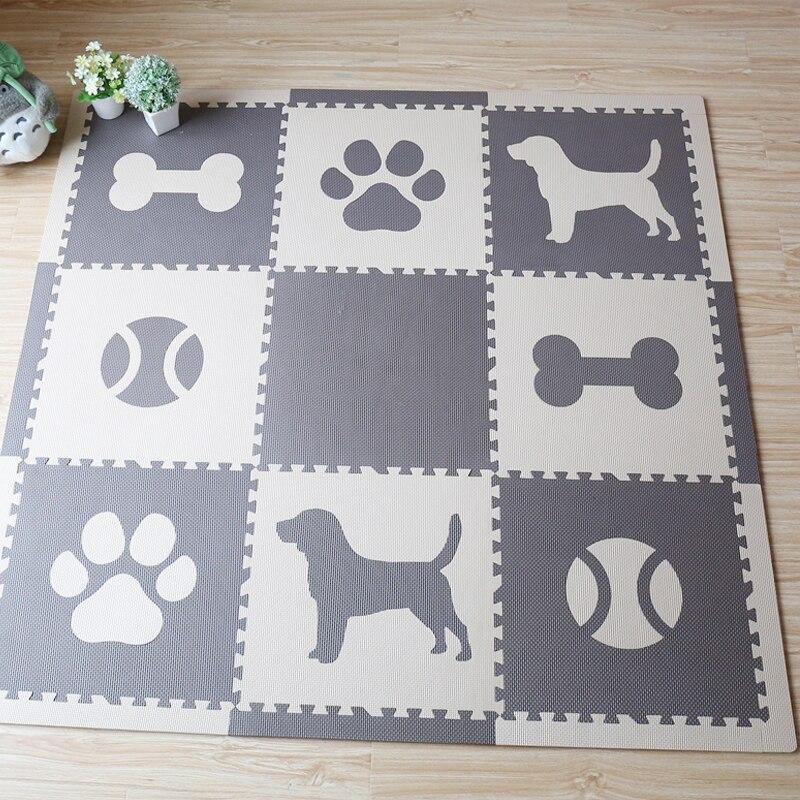 JCC bébé EVA mousse Puzzle tapis de jeu, chien éducatif, balle et os carreaux entrelacés, tapis de sol et tapis, couverture 144x144 cm