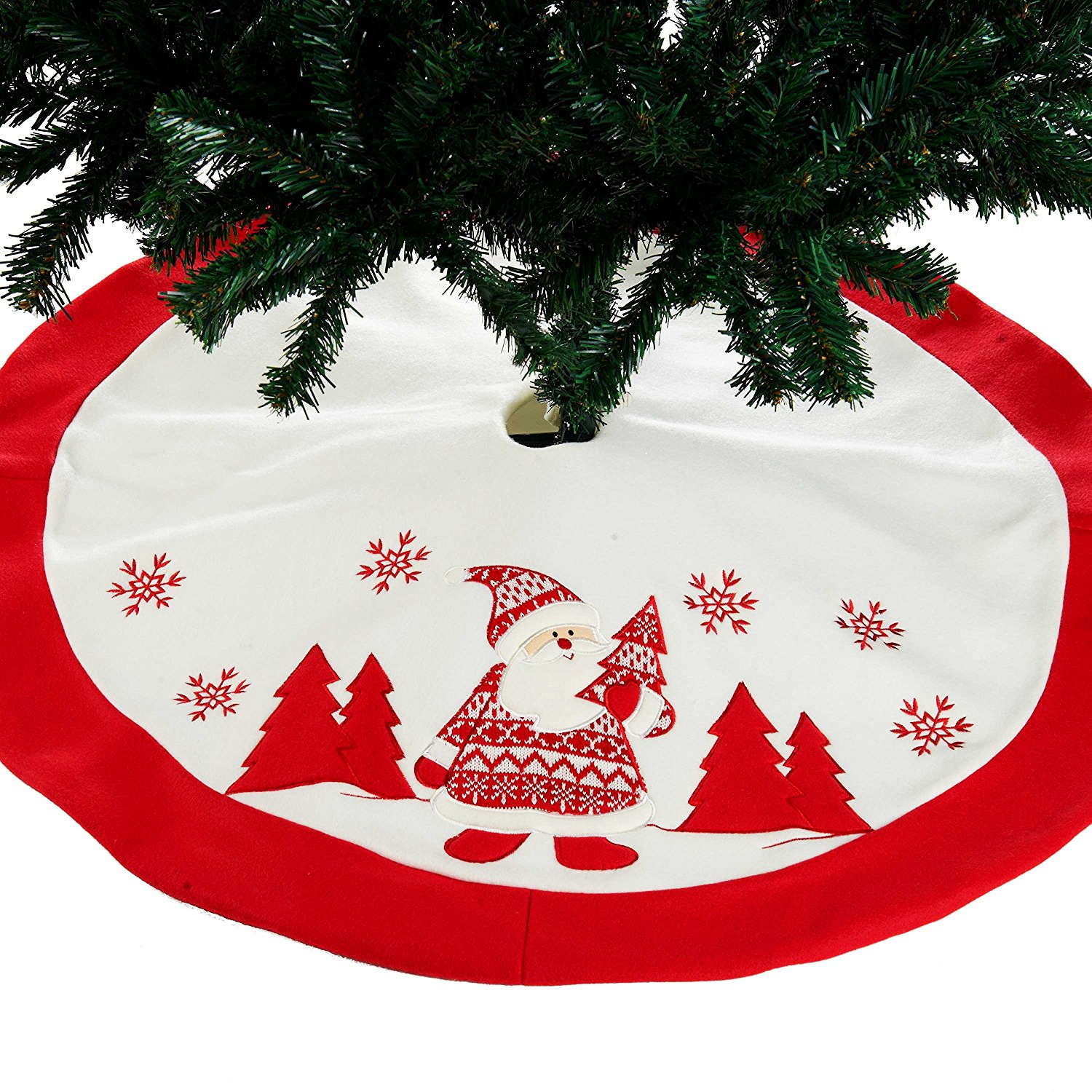 High Quality Embroidered Santa Claus Christmas Tree Skirt For XMAS Tree Decoration New Year Home Party Supplies