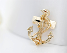 Pirates Anchor Gold-Color Crystal Brooch