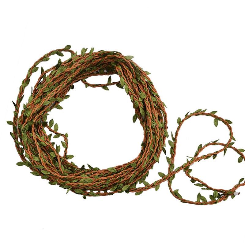 10 м шелковая гирлянда с зелеными листьями, железная проволока, украшение для свадьбы, домашнего сада «сделай сам», реквизит для фотосъемки