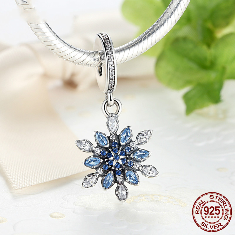 Wholesale Real 925 Sterling Silver Snowflake Charms Fit Original Pandora Bracelet & Necklace Pendant Authentic Women Jewelry
