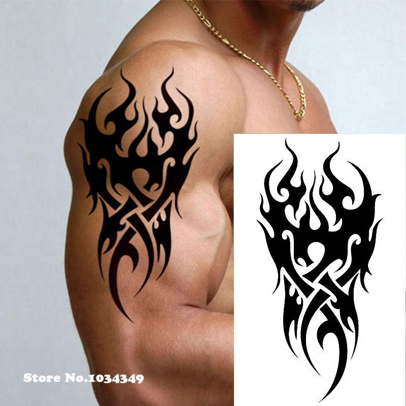Waterproof Temporary Tattoo Men's Fire Tatoo Eagle Lotus Mandala Eye Flame Totem 12*19cm Water Transfer Fake Tatto For Man