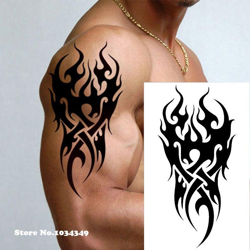 Us 09 Wodoodporny Tymczasowy Tatuaż Mężczyźni Ogień Tatuaż Eagle Lotosu Mandala Oko Płomienia Totem 1219cm Transfer Wody Fałszywy Tatuaż Dla