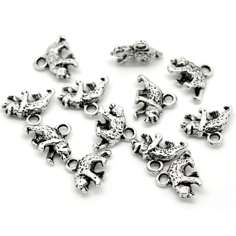⑧250 piezas Tono de plata lindo Oso Polar Animal Metal colgantes ...