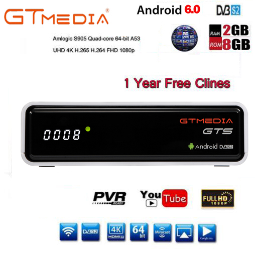 Freesat GTmedia GTS Android 6.0 4 K Smart TV BOX Amlogic S905D Combo DVB-S2 Satellite Empfänger 2G/8 GB BT4.0 Set top box cccam m3u