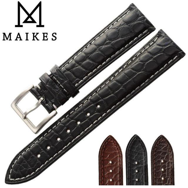Maikes 14-24mm de alta qualidade jacaré genuína banda pulseira de relógio acessórios pulseira pulseira de couro de crocodilo preto para omega