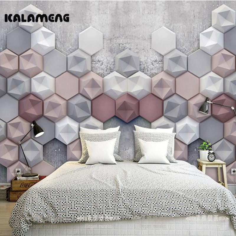 KALAMENG Custom Modern Luxury Photo Wall Mural 3D Wallpaper Papel De Parede  Living Room Tv Backdrop Wall Paper Of 3D Hexagon custom photo wallpaper large mural wall stickers 3d stereo digital english living room tv wall papel de parede