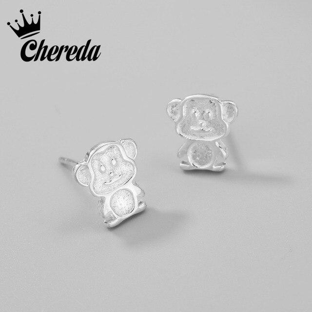 Chereda בעלי החיים קוף Stud עגילים עבור חמוד נשים ילדה גברים Stand אהבת קוף שנה של חודש אבזרים