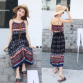 2016 Summer Bohemian Sleeveless Casual Women Ethnic Printed Sexy Spaghetti Strap Long Beach Maxi Dress LQ38