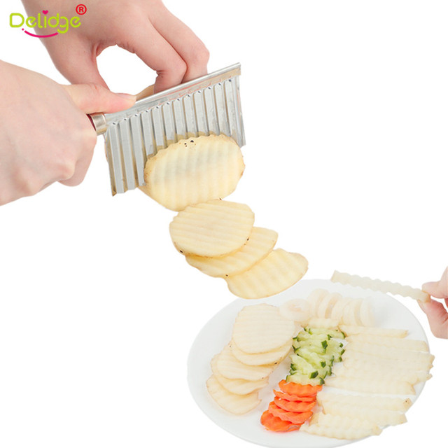 Delidge 1 pc Potato Wavy Cutter Stainless Steel Vegetable Fruit Cutting Knife Potato Cucumber Carrot Waves Cutter Cooking Tool
