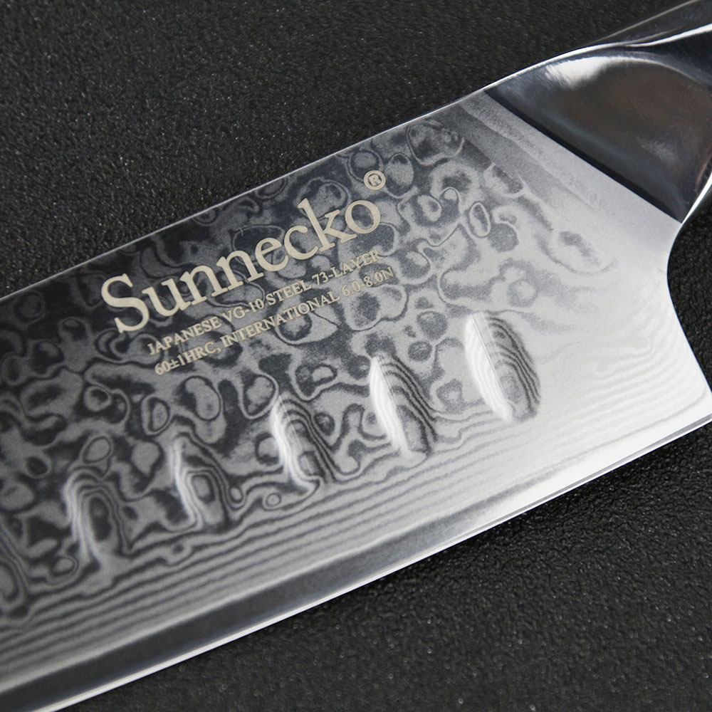 Sunnecko 7 inches Santoku Knives Stainless Steel Damascus VG10 Blade Slicing Knife G10 Handle Fruit Meat Chopping Veg Paring