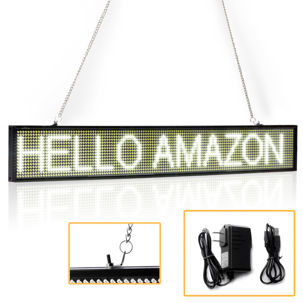50CM White P5 SMD Store Led Sign Programmable Scrolling Message LED Display Board Time Countdown Display Russian Support