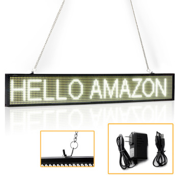 Scrolling Led Signs | 50CM White P5 SMD Store Led Sign Programmable Scrolling Message LED Display Board Time Countdown Display Russian Support