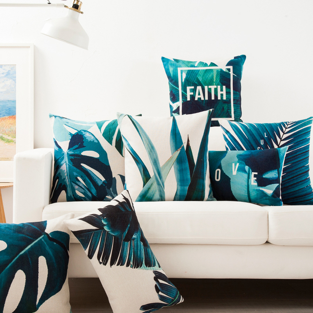 Tropical Faith Palm Cushion Cover  2