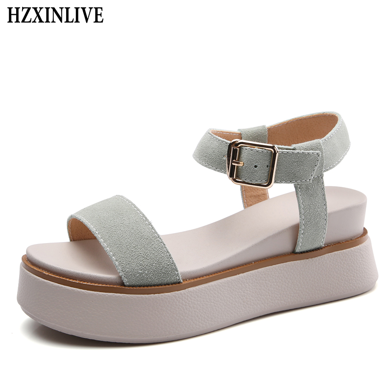 HZXINLIVE 2018 Fashion Summer Sandals Women Cow Suede Casual High Wedges Heel Sandals Ladies Open Toe Platform Sandalias Mujer miquinha red metal leaf decoration open toe mixed color cover heel women fashion thin heel super high casual sandalias mujer