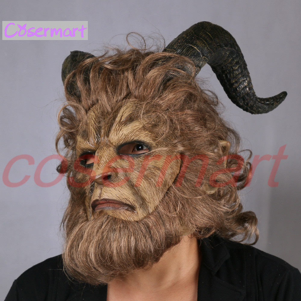 2017 Hot Movie Beauty and the Beast Adam Prince Mask Cosplay Horror Mask Latex Lion Helmet Halloween Party (10)