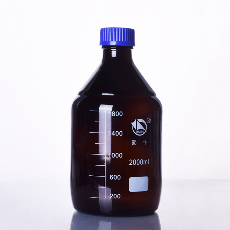 Brown reagent bottle,With blue screw cover,Normal glass,Capacity 2000ml,Graduation Sample Vials Plastic Lid brown reagent bottle with yellow screw cover borosilicate glass 3 3 capacity 10000ml graduation sample vials plastic lid