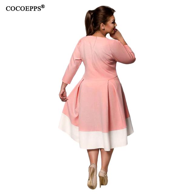 6XL Large Size Female dresses New Autumn Patchwork plus size women clothing Elegant Evening Vestidos