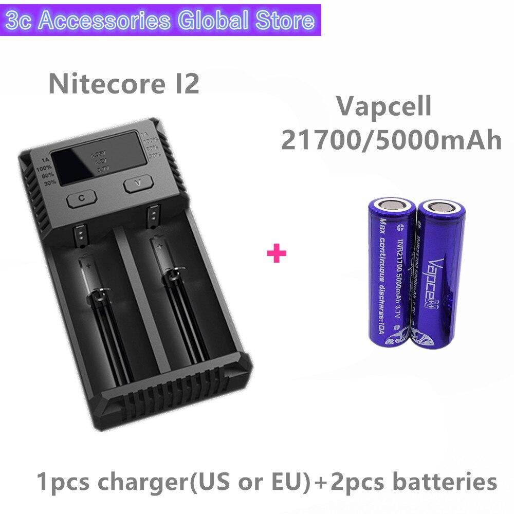 Vapcell 2 pièces INR 21700 5000 mAh 10A li-ion batterie rechargeable avec Nitecore nouveau I2 Digi chargeur LCD Intelligent pour fumée E-CIG