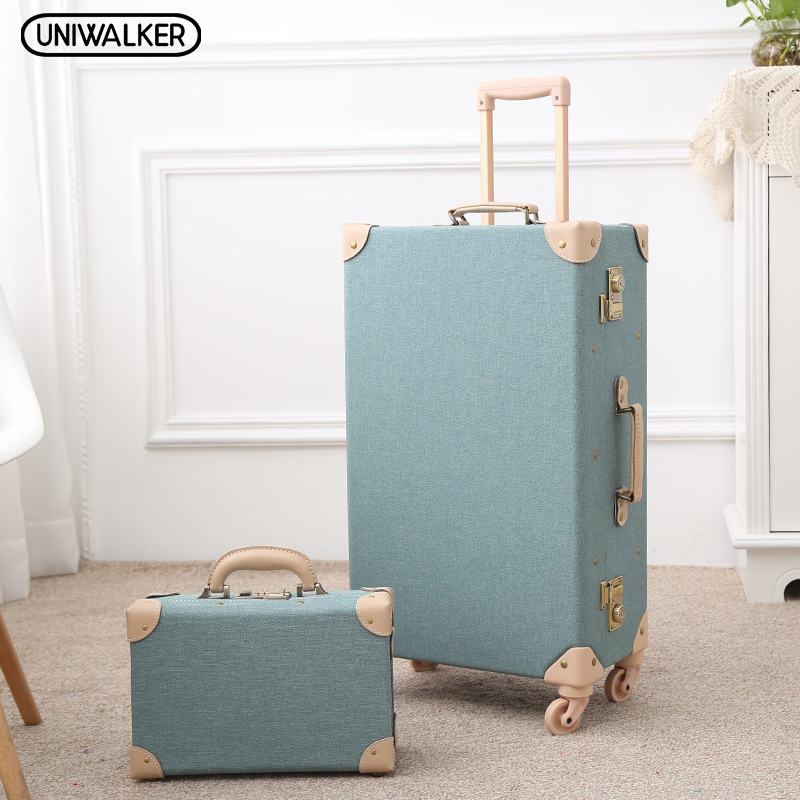12 20 24 26 Green Vintage Travel Suitcase Trolley Travel Luggage Retro Trolley Luggage Suitcase Bags Free Shipping