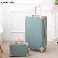 UNIWALKER 12 20 24 26 Green Vintage Travel Suitcase Trolley Travel Luggage Retro Trolley Luggage Suitcase Bags Free Shipping