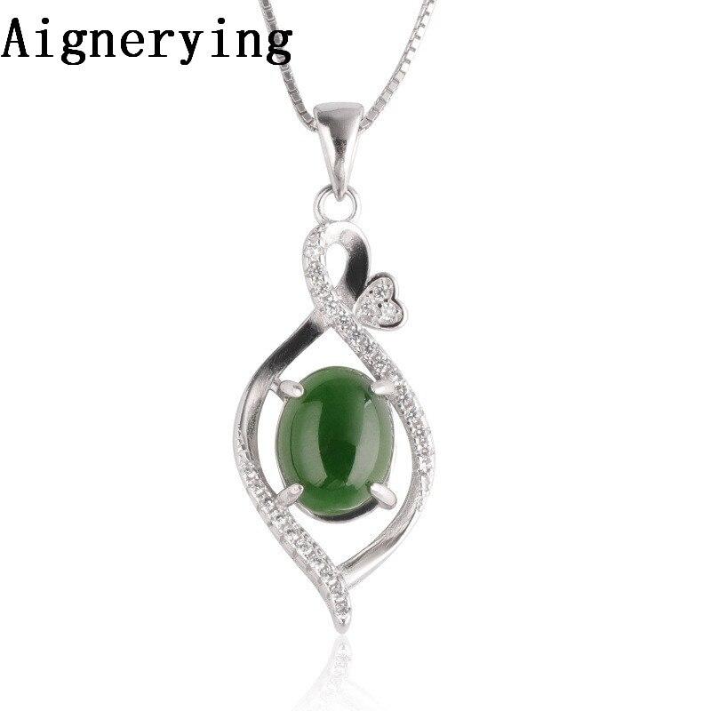 Collier pendentif fil creux Jade vert naturel collier bijoux chaîne Vintage incrusté Porte-cadeau certificat gland