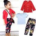 Nuevas muchachas de la marca de ropa de moda juegos de la muchacha de la chaqueta + camisa + pantalones de la flor 3 unidades set ropa del bebé de la muchacha cabritos del juego de la ropa