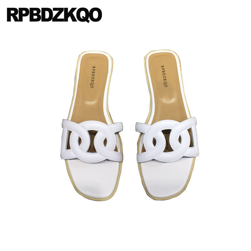 Designer Sandals Women Luxury 2018 Slippers Plus Size Famous Brand Ladies Slides Open Toe Slip On Flat Shoes Blue Summer White black flat casual designer sandals women luxury 2017 summer slip on embellished pearl soft slippers slides shoes open toe metal