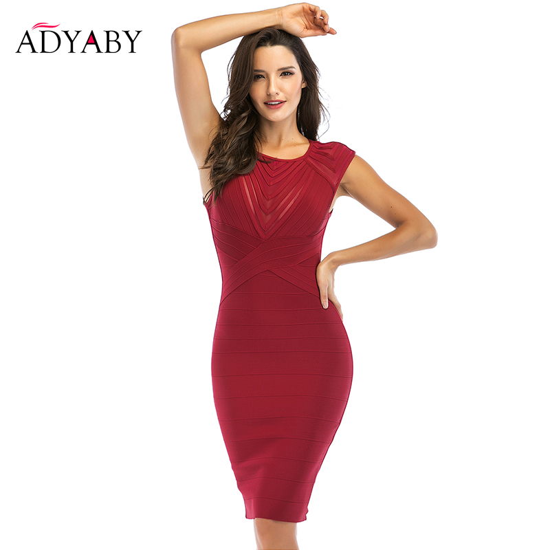 Sleeveless Bodycon Dress Women Fashion 2019 Summer Bandage Dress Red Black Knee Length Night Celebrity Party Dresses Vestidos